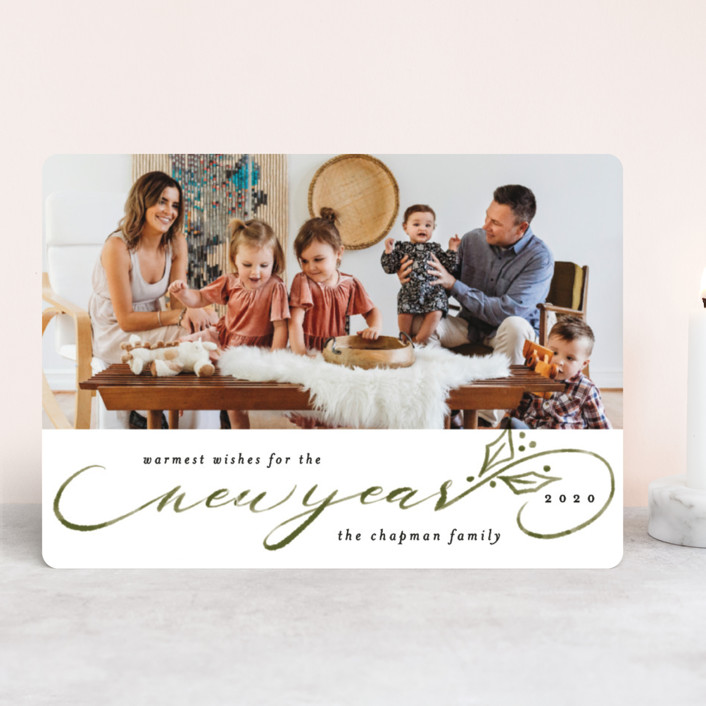 """""""Merriest Script"""" - Holiday Photo Cards in Pine by Cassandra Imagines."""