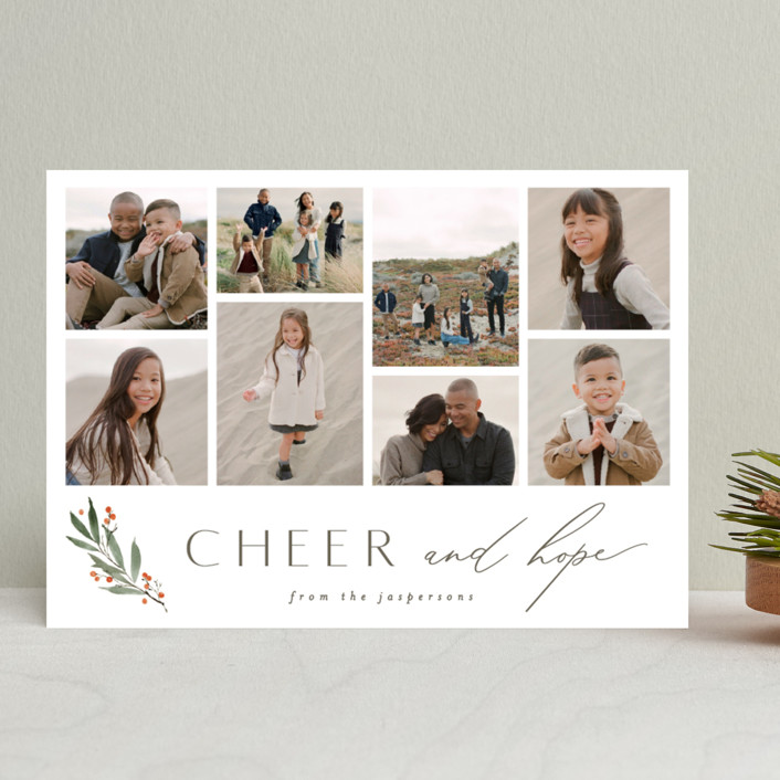 """""""Simple Sprig"""" - Holiday Photo Cards in Pine by Everett Paper Goods."""