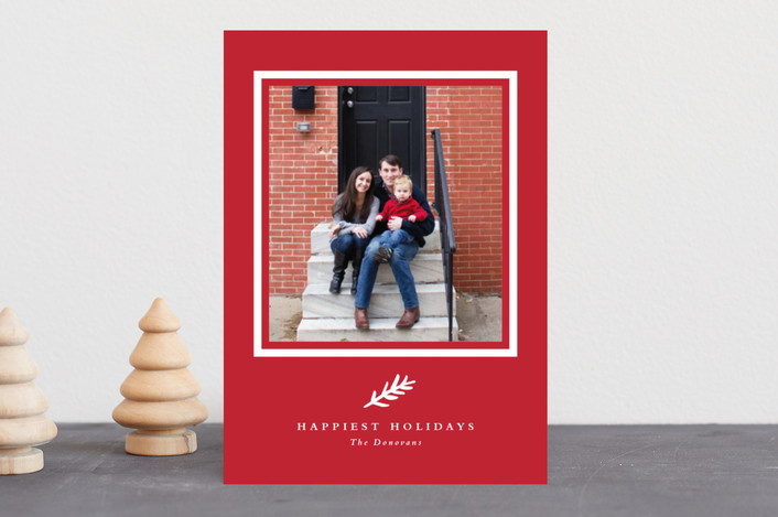 """Classic branch"" - Holiday Photo Cards in Cranberry by Stacey Meacham."