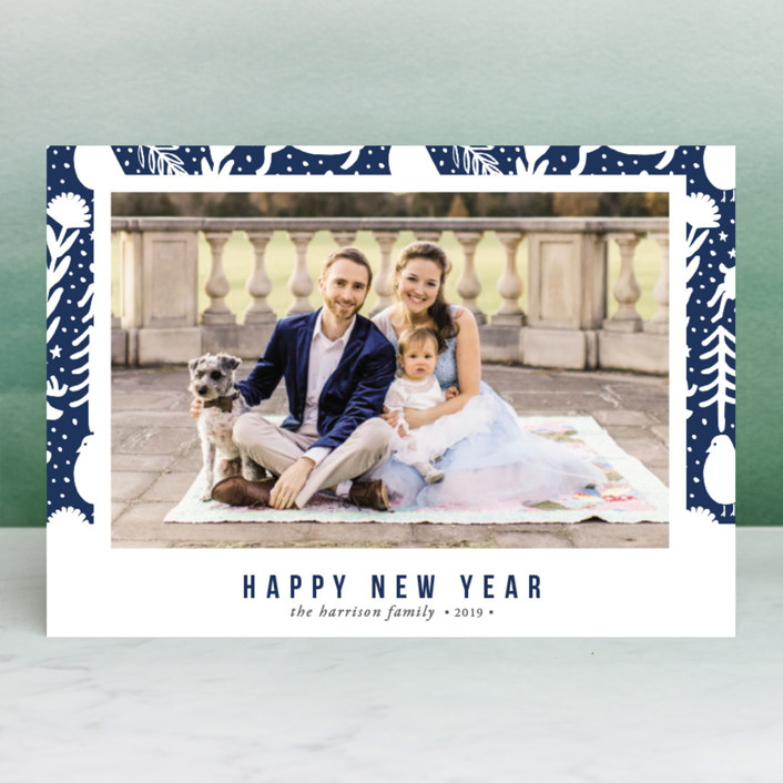 """Scandi Holiday"" - Holiday Photo Cards in Navy by Beth Schneider."