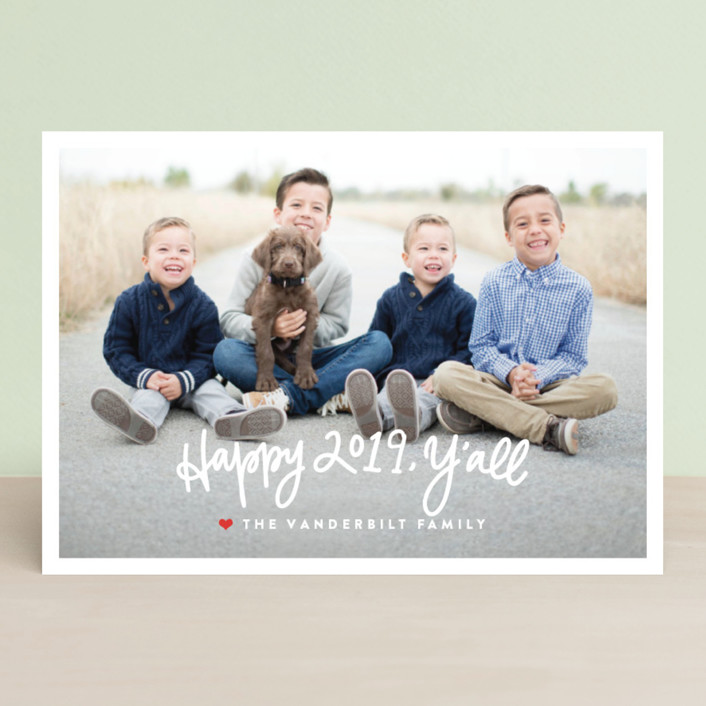 """Be Merry, Y'all"" - Holiday Photo Cards in Candy Cane by Up Up Creative."