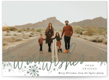This is a green holiday photo card by Alethea and Ruth called Warm Wishes from with standard printing on smooth signature in standard.