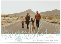 This is a blue holiday photo card by Alethea and Ruth called Warm Wishes from with standard printing on smooth signature in standard.