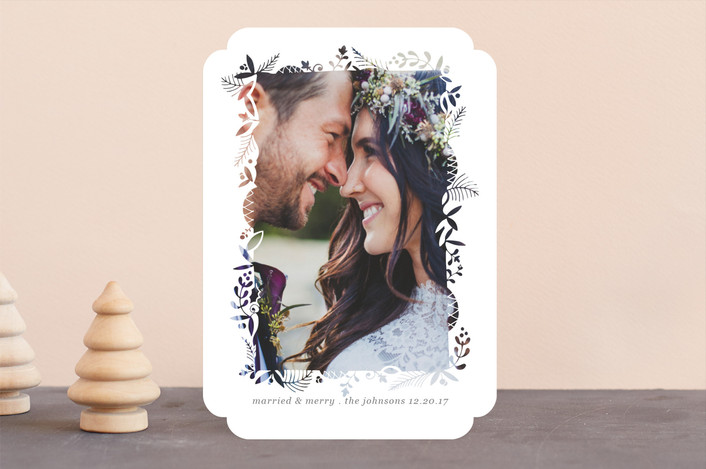 """""""Foliage Cutout Frame"""" - Bohemian Holiday Photo Cards in Lace by Becky Nimoy."""