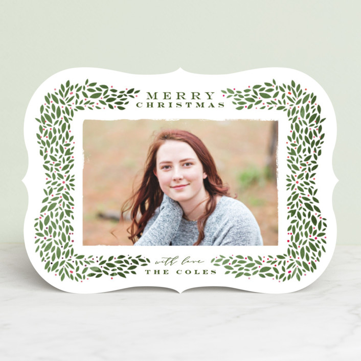"""Framed Wreath"" - Holiday Photo Cards in Forest by Lori Wemple."