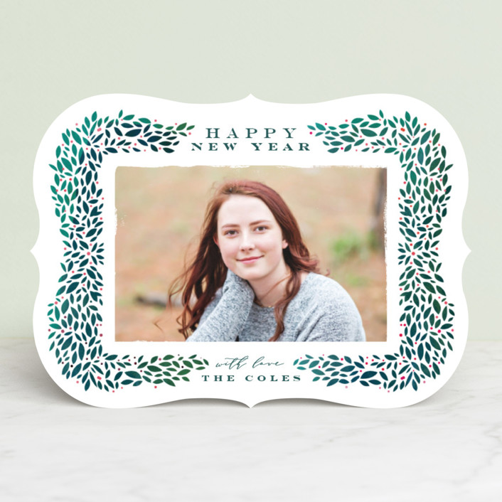 """Framed Wreath"" - Holiday Photo Cards in Evergreen by Lori Wemple."