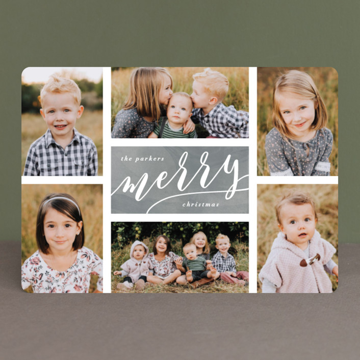 """""""The Merry Six"""" - Holiday Photo Cards in Slate by Hooray Creative."""