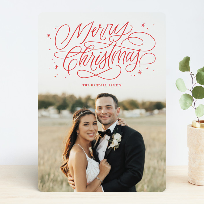 """Merry Shimmer"" - Holiday Photo Cards in Rouge by Kristen Smith."