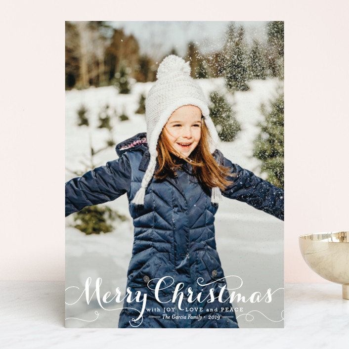 """""""Spirit of Christmas"""" - Holiday Photo Cards in Snow by Design Lotus."""