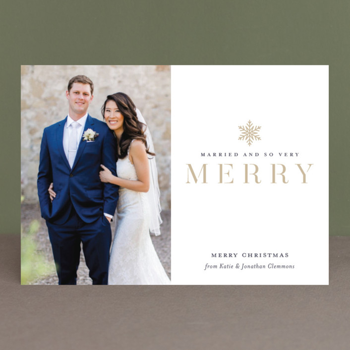 """Snow Merry"" - Holiday Photo Cards in Golden by Jessica Williams."