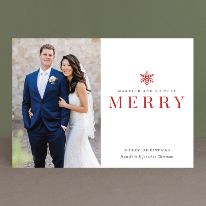 """""""Snow Merry"""" - Holiday Photo Cards in Golden by Jessica Williams."""