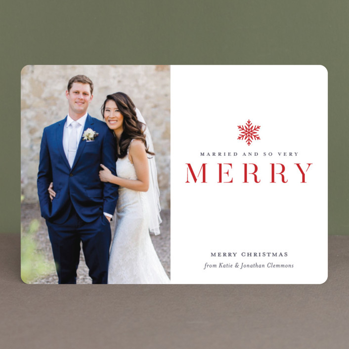 """""""Snow Merry"""" - Holiday Photo Cards in Cardinal by Jessica Williams."""