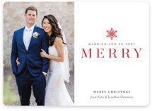 This is a red holiday photo card by Jessica Williams called Snow Merry with standard printing on smooth signature in standard.