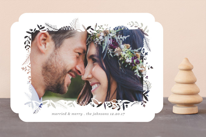 """Foliage Cutout Frame"" - Bohemian Holiday Photo Cards in Lace by Becky Nimoy."