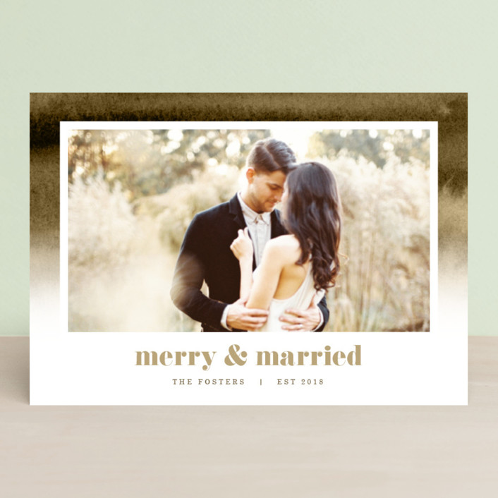 """Established in Color"" - Bohemian Holiday Photo Cards in Tan by Pixel and Hank."