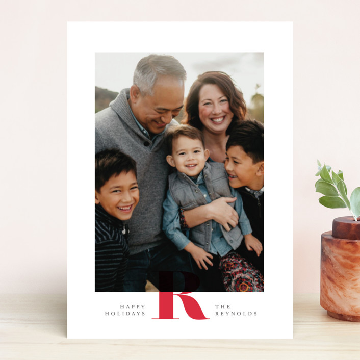 """""""Minimal Initial"""" - Holiday Photo Cards in Berry by Carrie ONeal."""