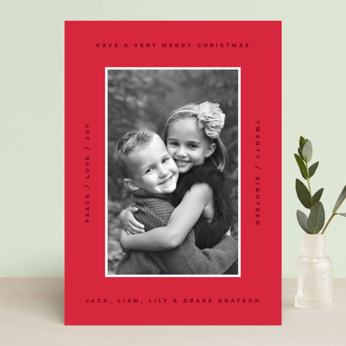"""""""border boldness"""" - Holiday Photo Cards in Crimson by Design Lotus."""