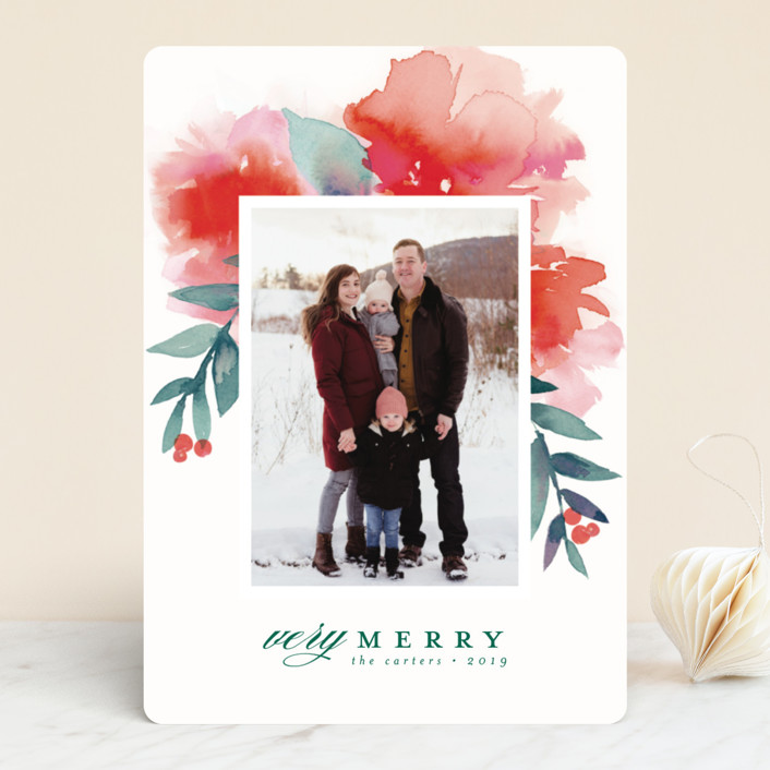 """""""Blooms + Berries"""" - Holiday Photo Cards in Poinsettia by Lori Wemple."""