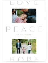 This is a white holiday photo card by Amy Kross called Peace to You with standard printing on smooth signature in standard.