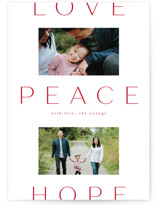This is a red holiday photo card by Amy Kross called Peace to You with standard printing on smooth signature in standard.