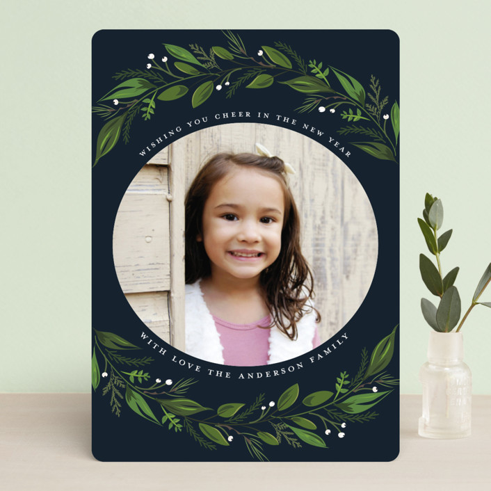 """""""Greenery Branch"""" - Holiday Photo Cards in Navy by Susan Moyal."""