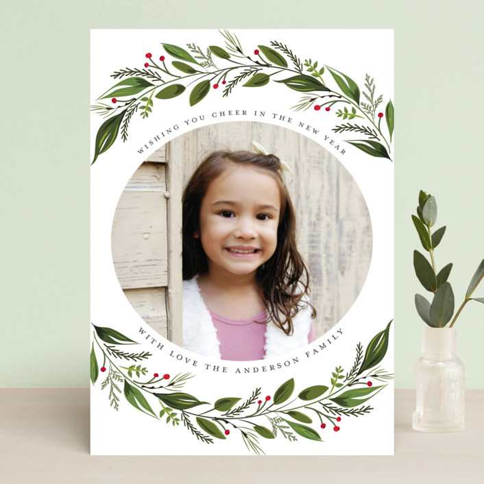 """Greenery Branch"" - Holiday Photo Cards in Crimson by Susan Moyal."