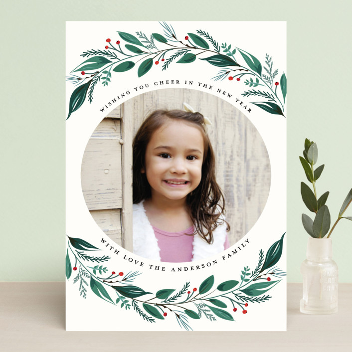 """""""Greenery Branch"""" - Holiday Photo Cards in Crimson by Susan Moyal."""