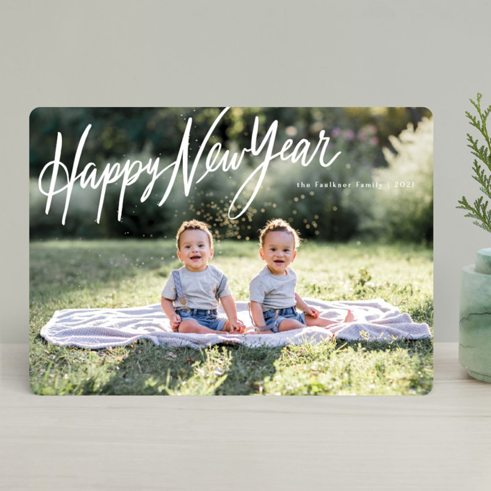 """""""Chirography"""" - Bohemian Holiday Photo Cards in Snowflake by Rebecca Daublin."""