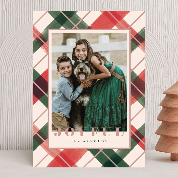 """""""Joyful Plaid"""" - Holiday Photo Cards in Blush by Carrie ONeal."""