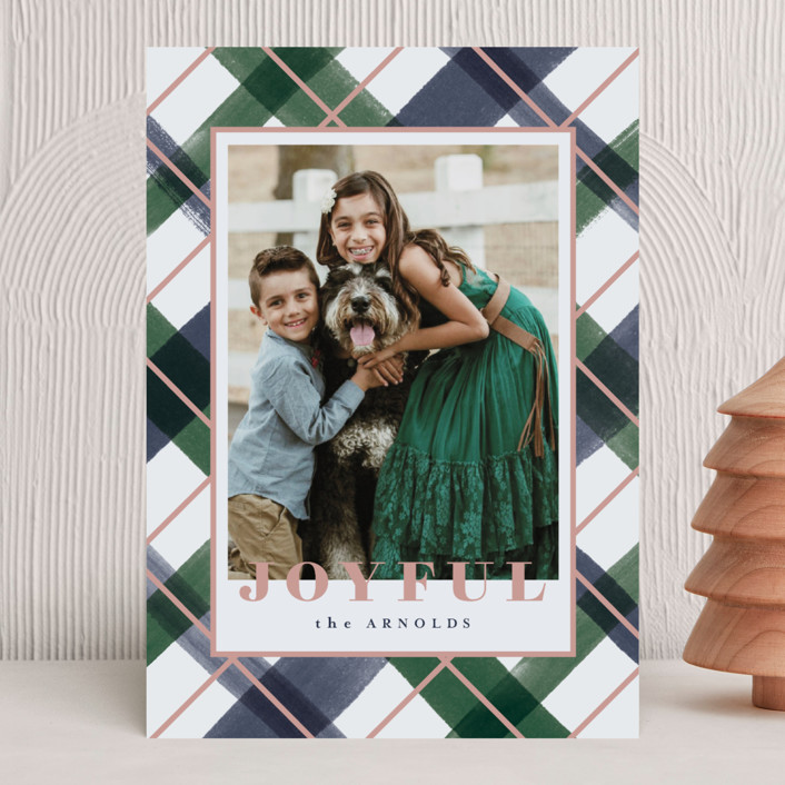 """""""Joyful Plaid"""" - Holiday Photo Cards in Ocean by Carrie ONeal."""