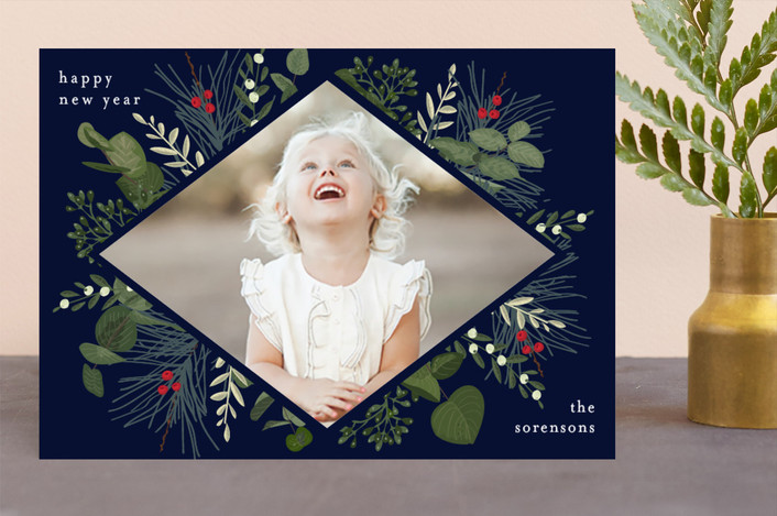 """""""Holiday Botanical"""" - Holiday Photo Cards in Marine by Chris Griffith."""