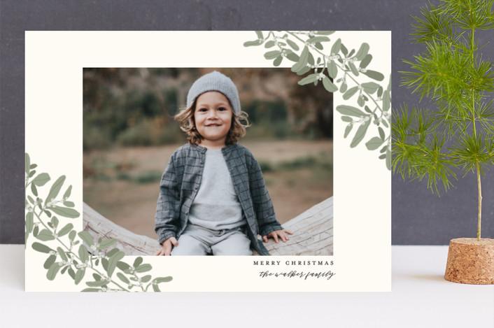 """Sweeping Mistletoe"" - Holiday Photo Cards in Evergreen by Grace Kreinbrink."