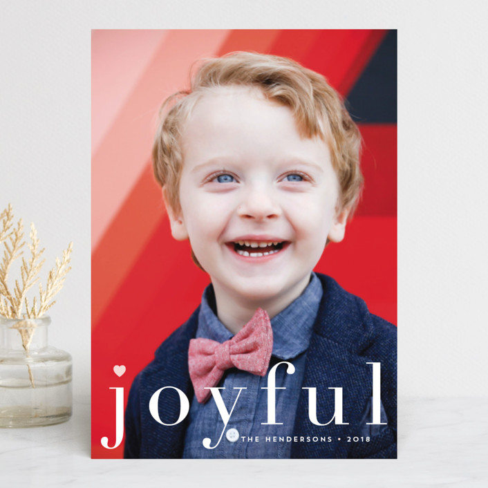 """""""joy from heart"""" - Holiday Photo Cards in Petal by Qing Ji."""