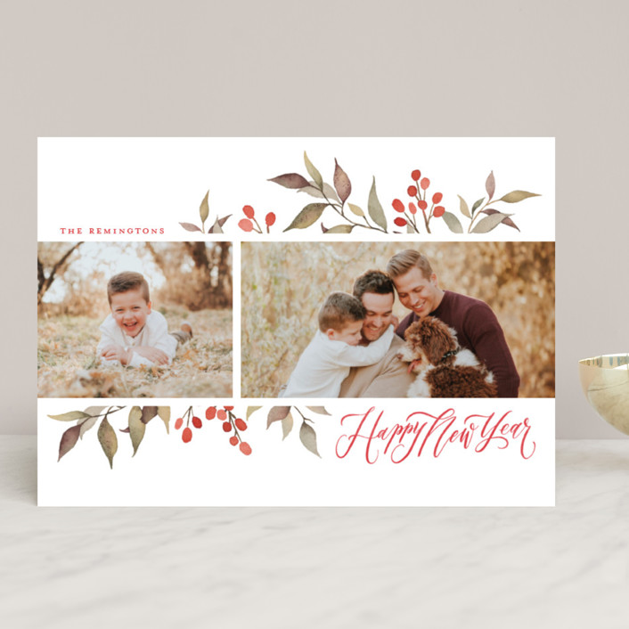 """Olive + Berries"" - Holiday Photo Cards in Holly Berry by Wildfield Paper Co.."