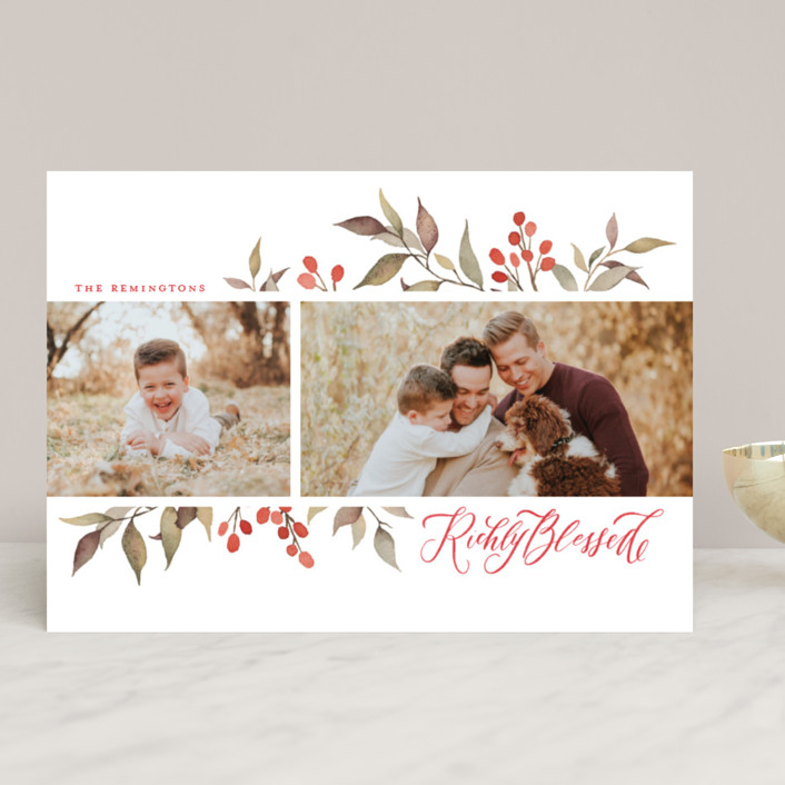 """""""Olive + Berries"""" - Holiday Photo Cards in Holly Berry by Wildfield Paper Co.."""