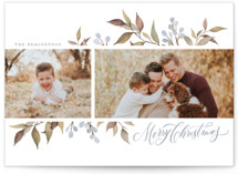 This is a blue holiday photo card by Wildfield Paper Co. called Olive + Berries with standard printing on smooth signature in standard.