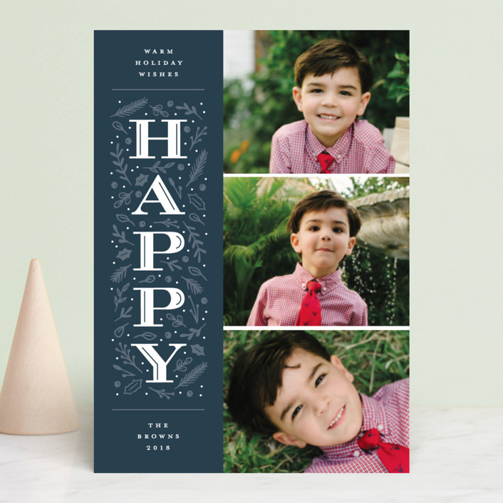 """Warm Merry Wishes"" - Holiday Photo Cards in Navy by Michelle Taylor."