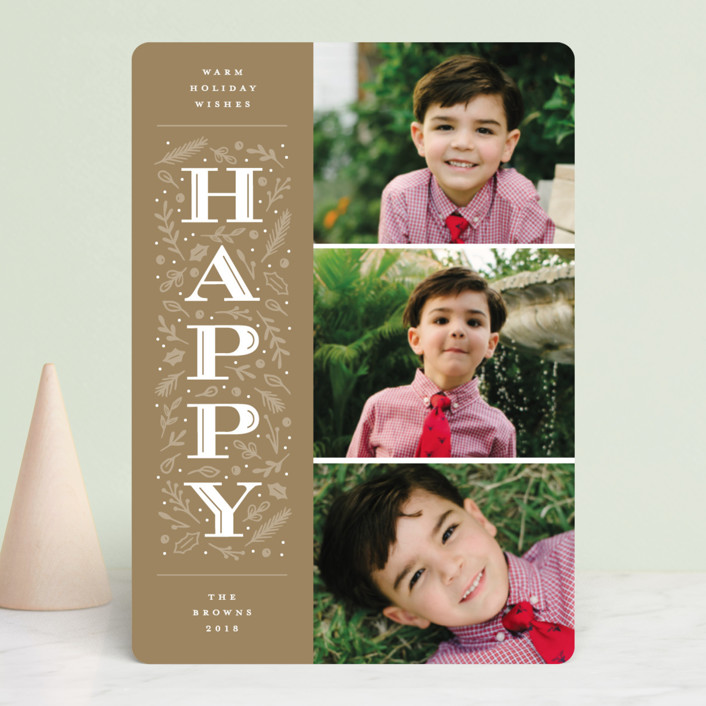 """Warm Merry Wishes"" - Holiday Photo Cards in Holly by Michelle Taylor."