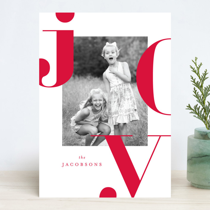 """""""Graphic Joy"""" - Holiday Photo Cards in Merlot by Kristie Kern."""