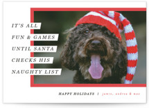This is a red holiday photo card by Pixel and Hank called Santa's Pet with standard printing on smooth signature in standard.