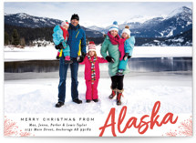 This is a red holiday photo card by Alethea and Ruth called Merry Christmas From with standard printing on smooth signature in standard.