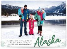 This is a green holiday photo card by Alethea and Ruth called Merry Christmas From with standard printing on smooth signature in standard.