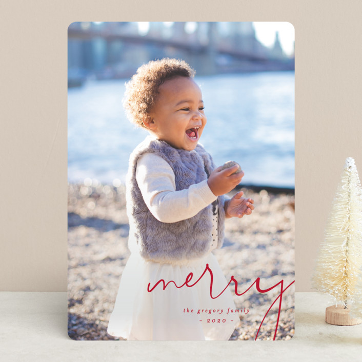 """Simple Corner"" - Holiday Photo Cards in Poinsettia by Amy Kross."