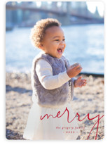 This is a red holiday photo card by Amy Kross called Simple Corner with standard printing on smooth signature in standard.