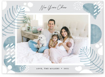 This is a blue holiday photo card by Darryl Don Doctor called Cozy Holiday with standard printing on smooth signature in standard.