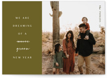 This is a green holiday photo card by Kanika Mathur called Dream Green Christmas with standard printing on smooth signature in standard.