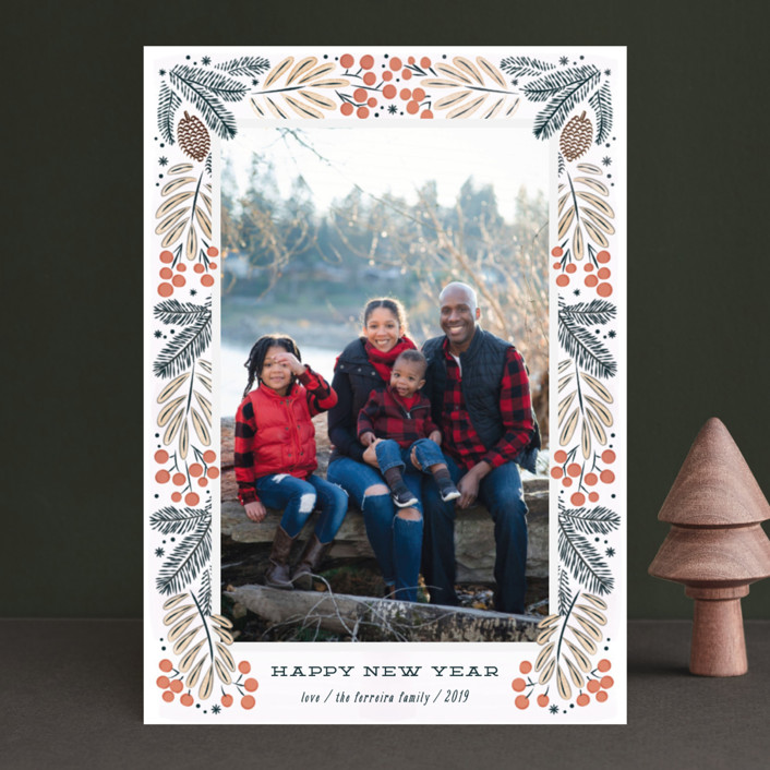 """Foliage wreath"" - Holiday Photo Cards in Persimmon by Ana de Sousa."