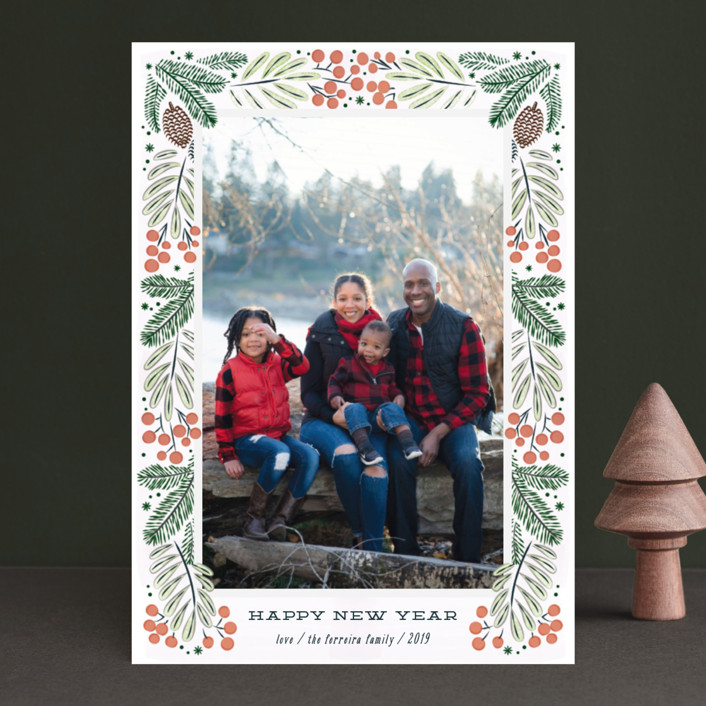 """Foliage wreath"" - Holiday Photo Cards in Mint by Ana de Sousa."