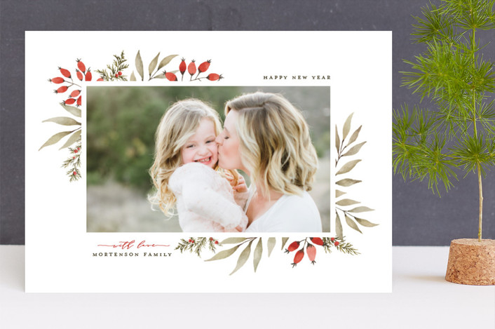 """Elegant Floral Frame"" - Holiday Photo Cards in Holly Berry by Wildfield Paper Co.."