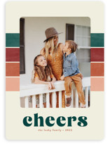 This is a colorful holiday photo card by Annie Holmquist called Vintage Stripe with standard printing on smooth signature in standard.